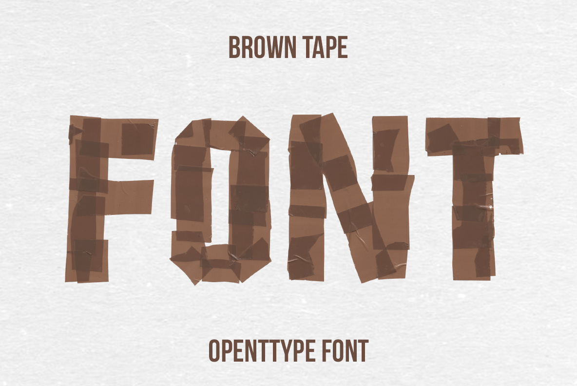 Cover of the Brown Tape Font. OpenType Typeface Made By Handmade Font