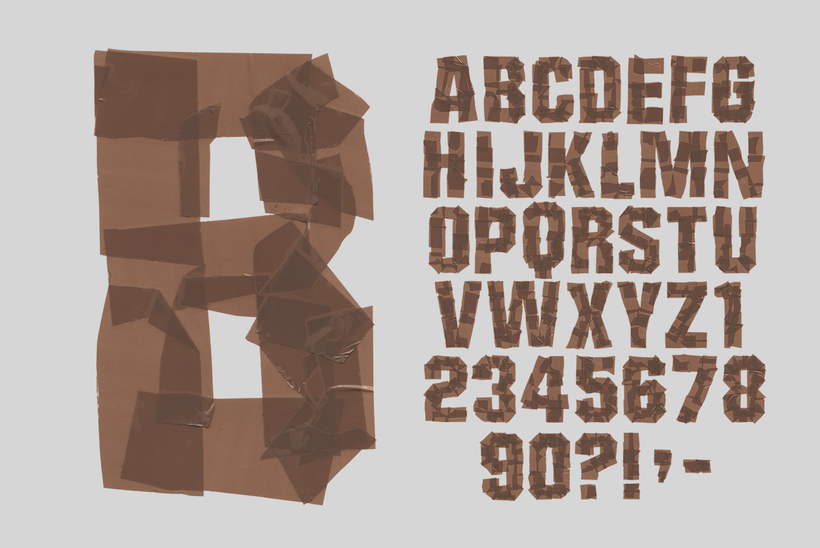 Whole alphabet of the Brown Tape Font. OpenType Typeface Made By Handmade Font