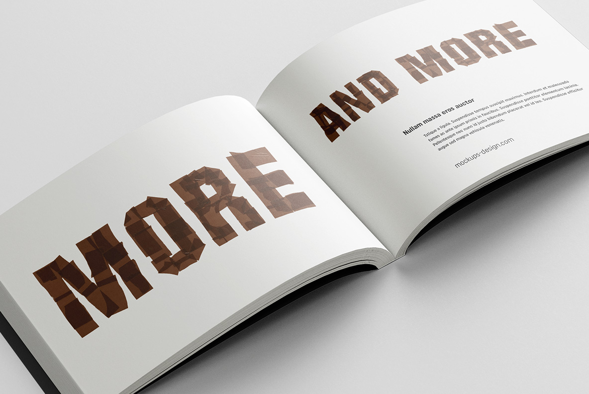 Opened catalogue with Brown Tape Font. OpenType Typeface Made By Handmade Font