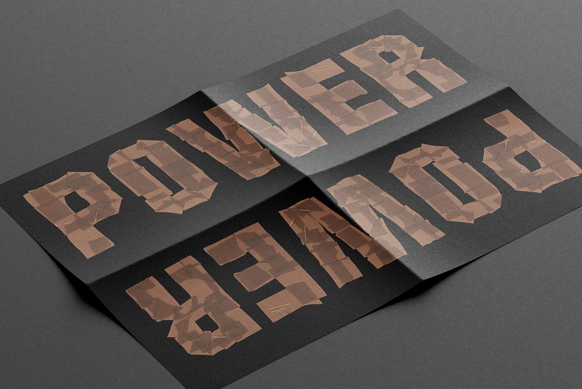 Black poster with Brown Tape Font. OpenType Typeface Made By Handmade Font