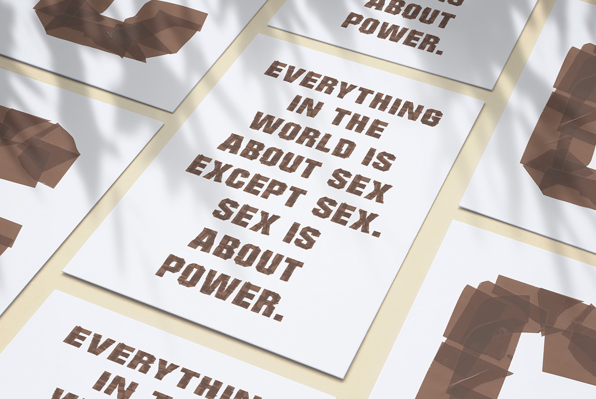 White poster with Brown Tape Font. OpenType Typeface Made By Handmade Font