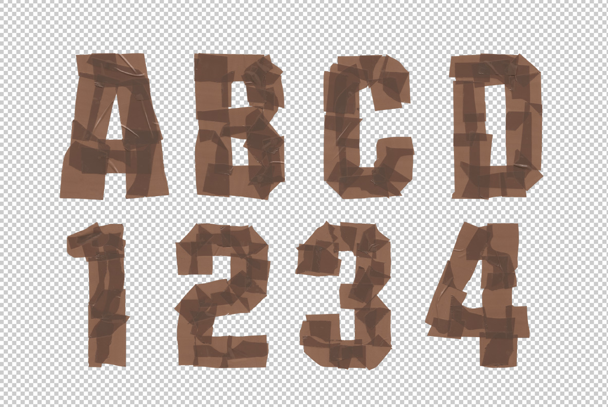 Photoshop test with Brown Tape Font. OpenType Typeface Made By Handmade Font