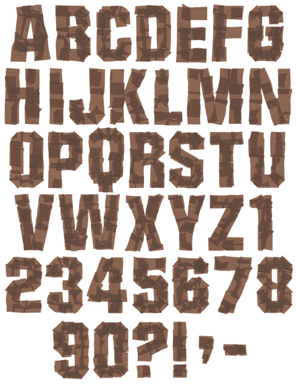 Brown Tape handmade Font