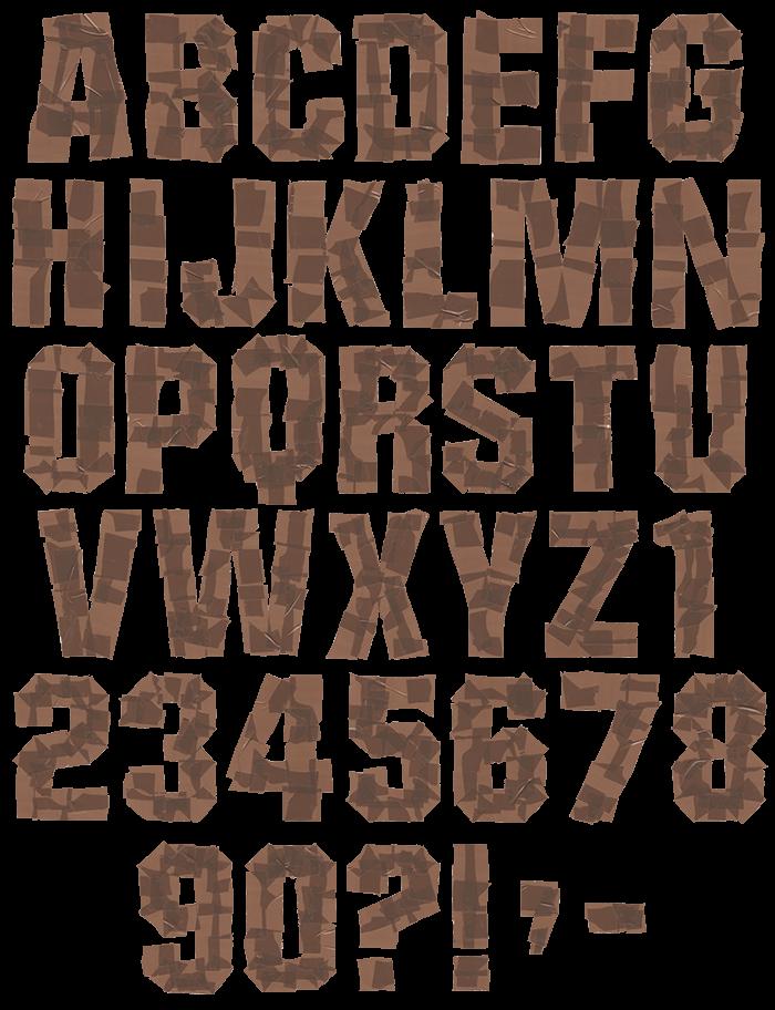 Brown Tape handmade Font