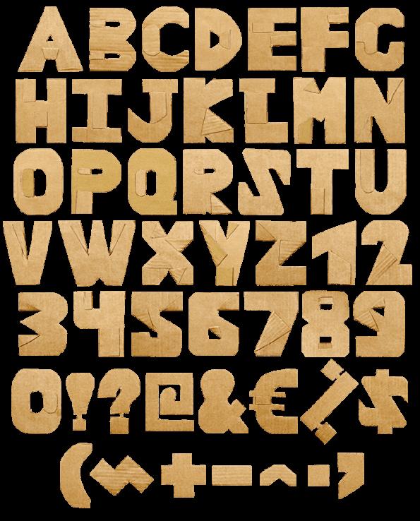 Cardboard Cut yellow Font