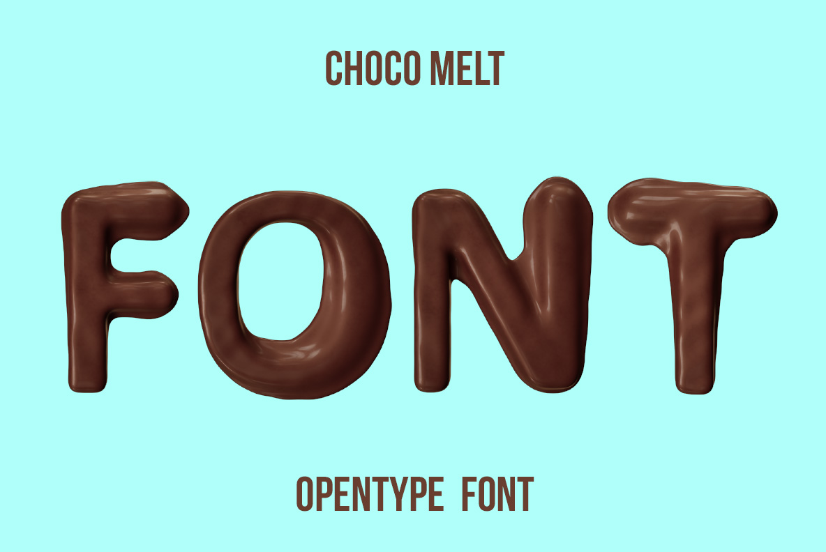 Cover preview of the Choco Melt Font. Chocolate OpenType Typeface Made By Handmade Font