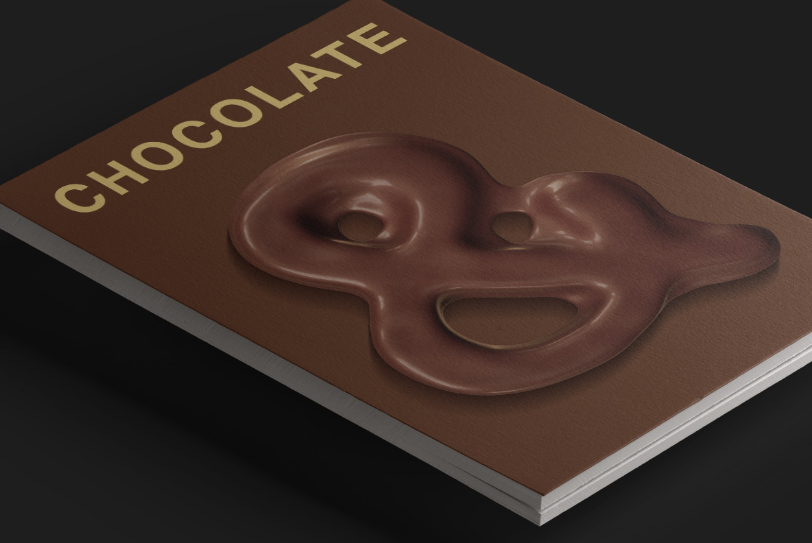 Magazine cover with Choco Melt Font. Chocolate OpenType Typeface Made By Handmade Font