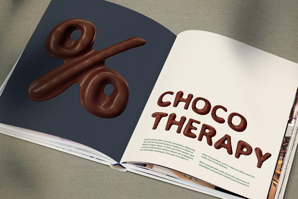 Opened magazine with Choco Melt Font. Chocolate OpenType Typeface Made By Handmade Font