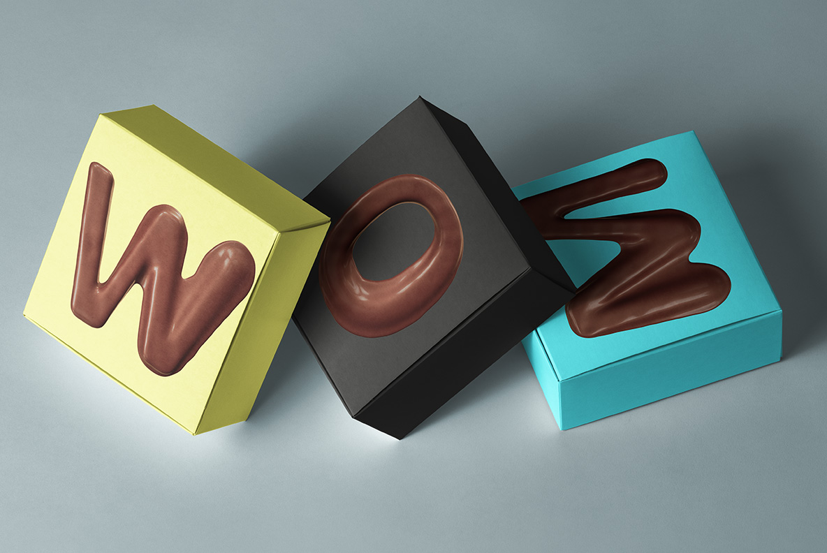 Boxes with Choco Melt Font. Chocolate OpenType Typeface Made By Handmade Font