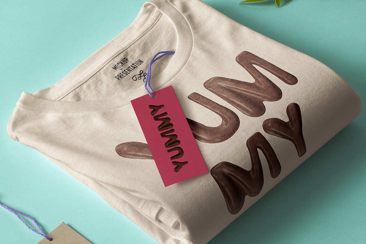 White t-shirt with Choco Melt Font. Chocolate OpenType Typeface Made By Handmade Font