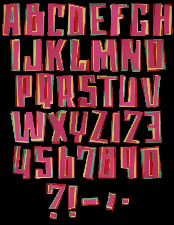 Color Paper funny Font