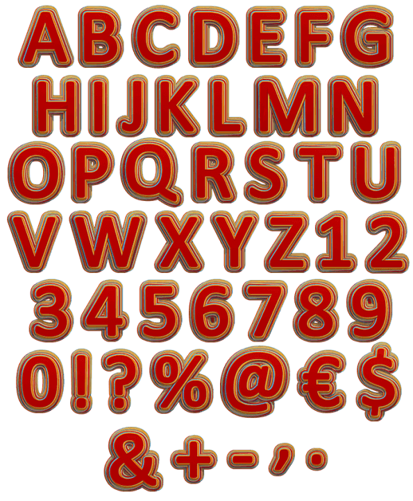 Color Stripes red Font