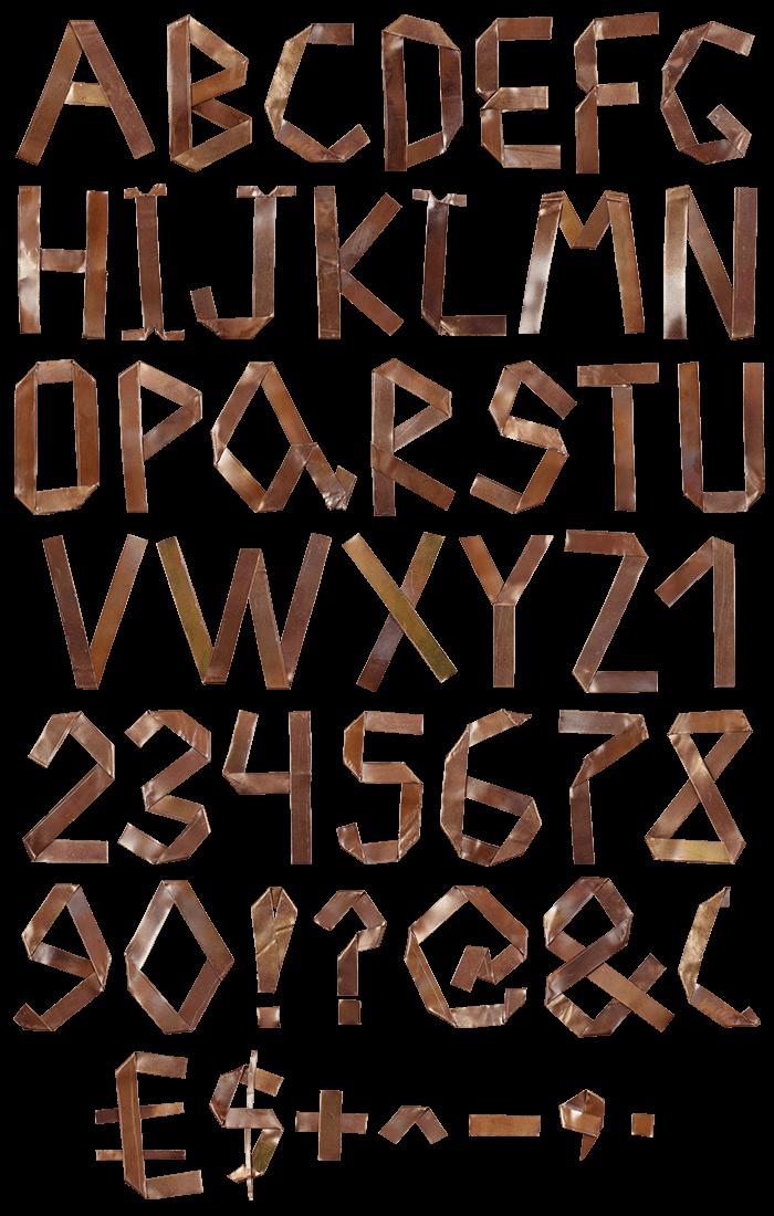 Copper Origami manufacture Font