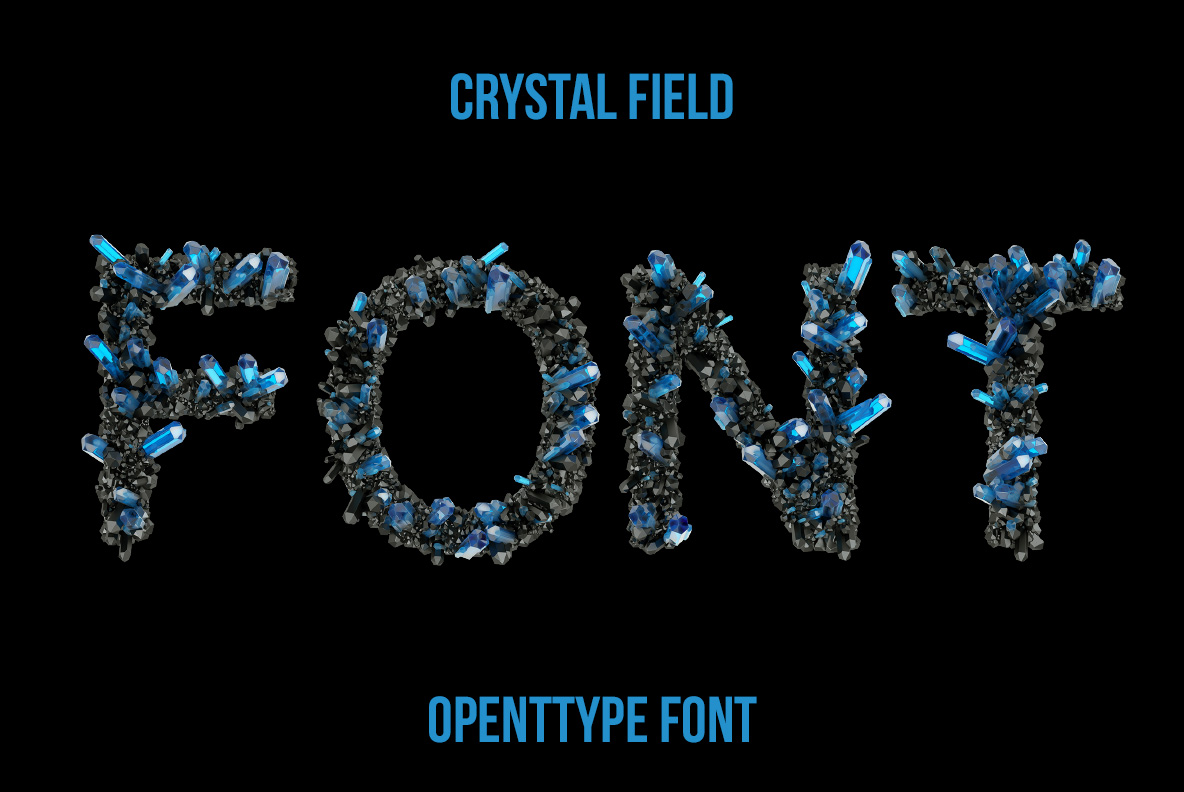 Cover of the Crystal Field Font. Jewelry OpenType Typeface Made By Handmade Font