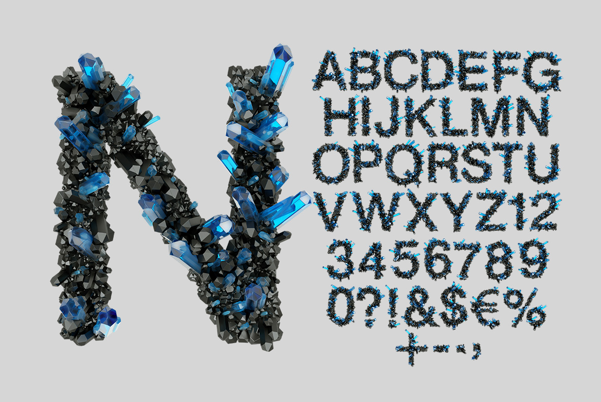 Alphabet of the Crystal Field Font. Jewelry OpenType Typeface Made By Handmade Font
