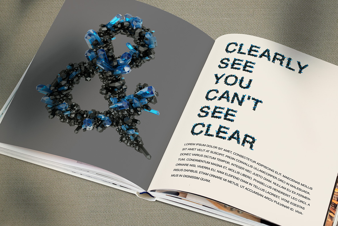 Opened magazine with Crystal Field Font. Jewelry OpenType Typeface Made By Handmade Font