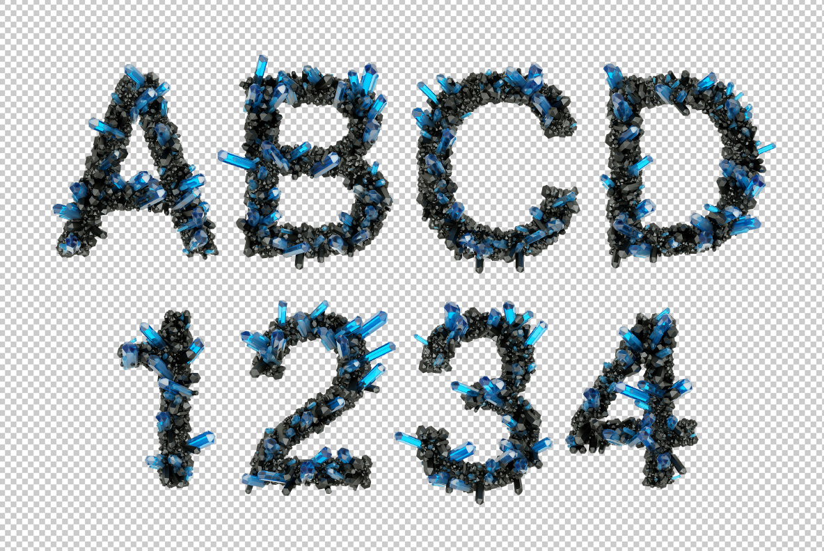 Photoshop test with Crystal Field Font. Jewelry OpenType Typeface Made By Handmade Font