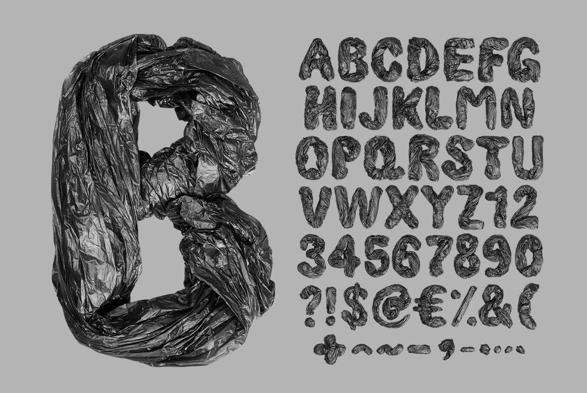 Garbage Pack Font OpenType. Garbage bags font