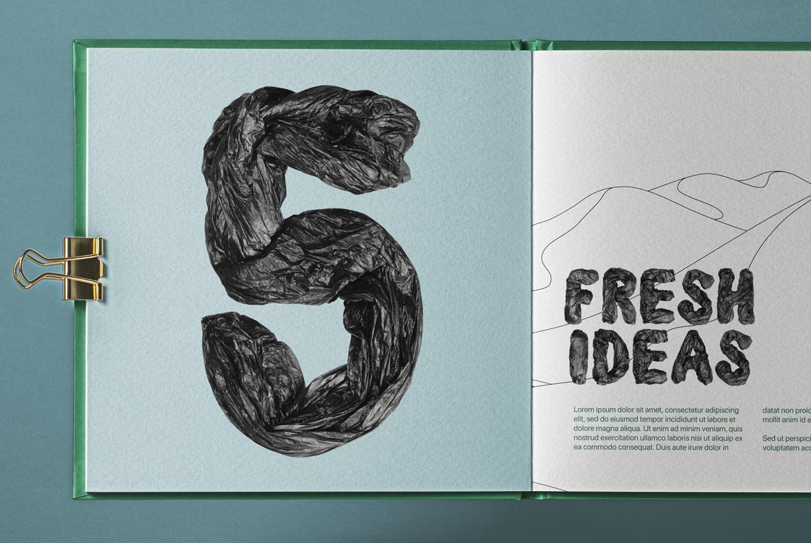 Garbage Pack Font OpenType SVG. Black Bags Font. Book mockup