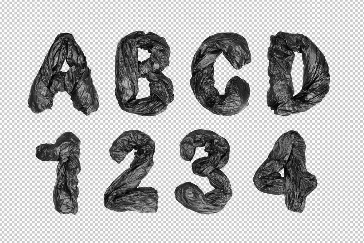 Garbage Pack Font OpenType SVG. Black Bags font photoshop preview