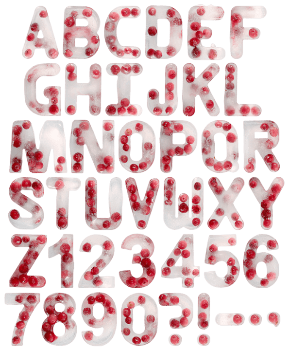 Ice Cranberry fruit Font
