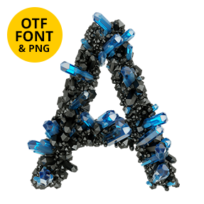 Letter A Of The Crystal Field Font. Jewelry OpenType Typeface Made By Handmade Font