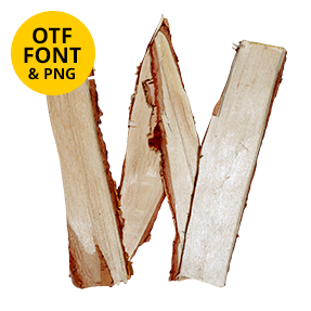 Letter W Of The Log Font. Wooden OpenType Typeface Made By Handmade Font