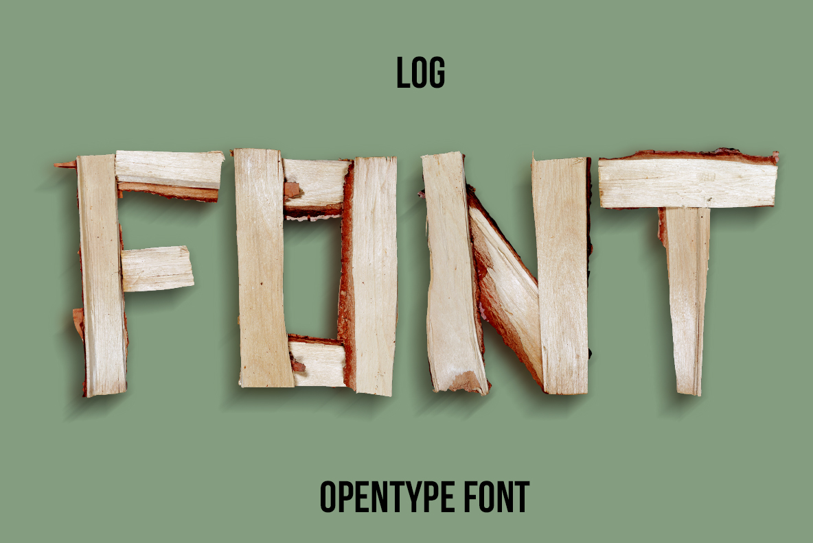 Cover of the Log Font. Wooden OpenType Typeface Made By Handmade Font