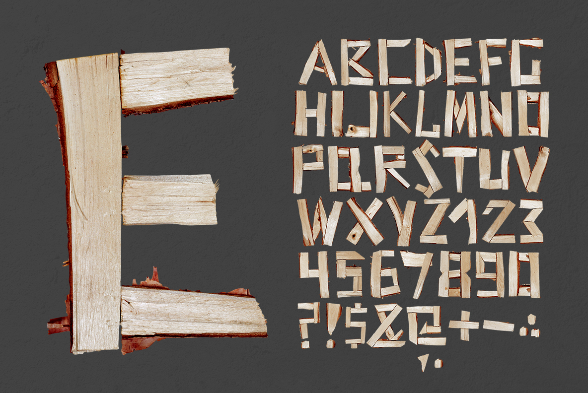 Alphabet of the Log Font. Wooden OpenType Typeface Made By Handmade Font