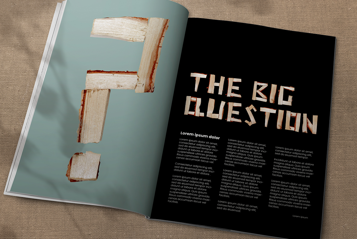 Opened magazine with Log Font. Wooden OpenType Typeface Made By Handmade Font