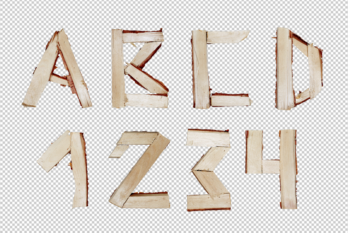 Photoshop with Log Font. Wooden OpenType Typeface Made By Handmade Font