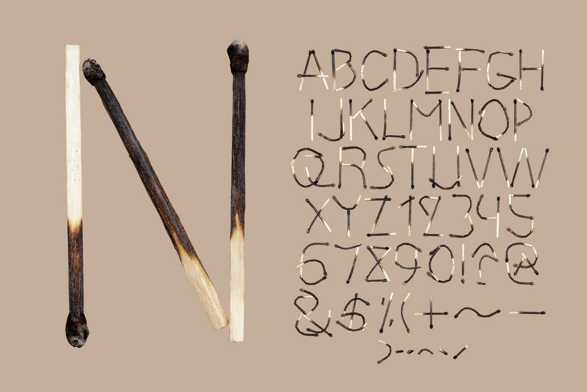 Matches Font OpenType Typeface SVG. Alphabet of burned handmade font