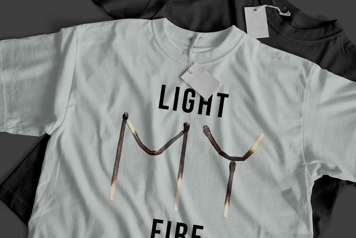 Matches Font OpenType Typeface SVG. T-shirt mockup with burned font
