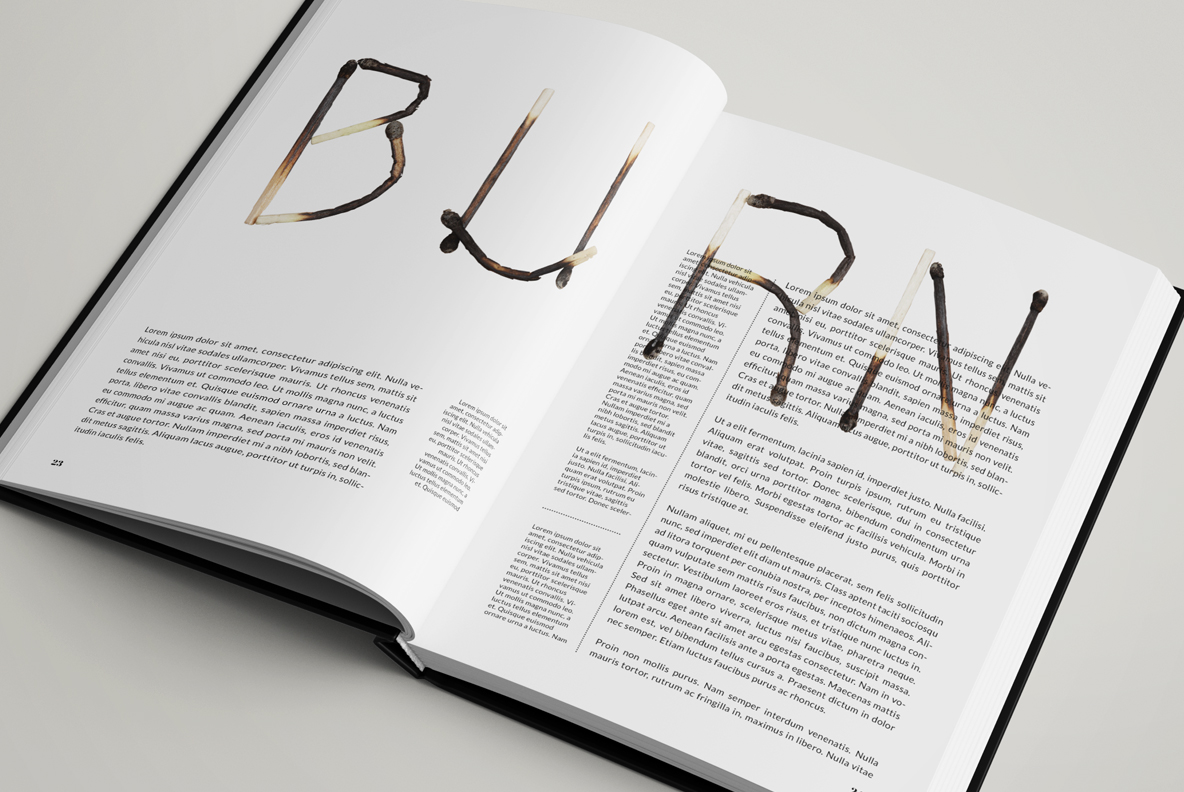 Matches Font OpenType Typeface SVG. Opened book with burned handmade font