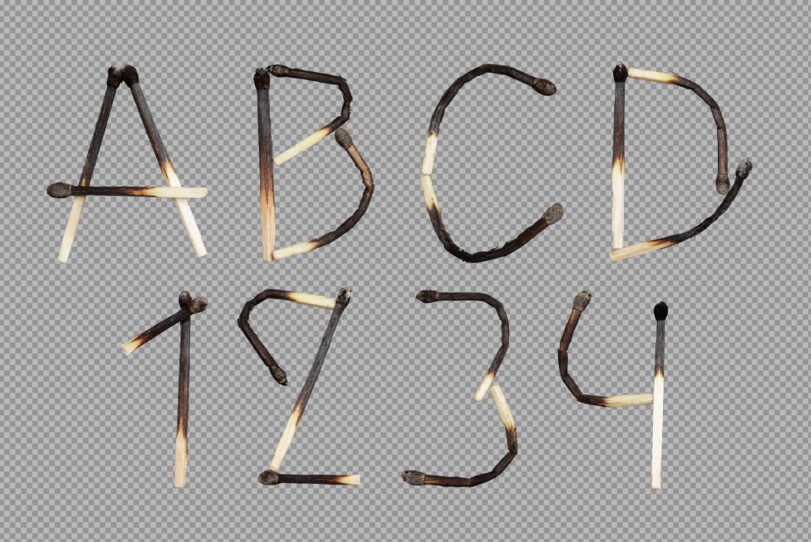 Matches Font OpenType Typeface SVG. Photoshop presentation of burned handmade font