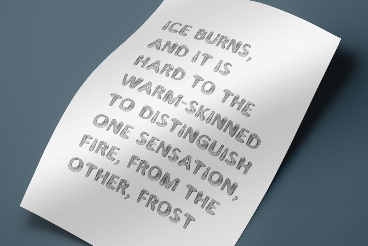 Melted Ice Font OpenType Typeface SVG poster with text