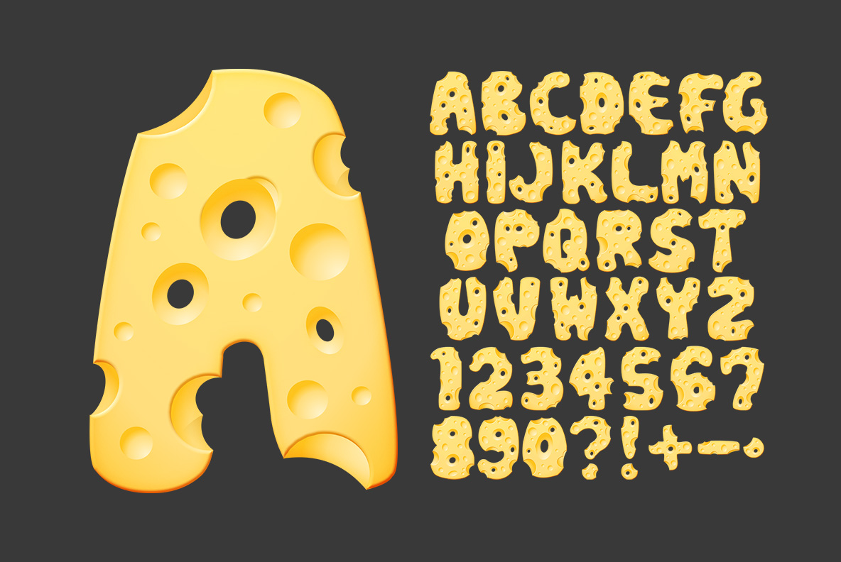 Alphabet of Moon Cheese Font OpenType Typeface Made By Handmade Font