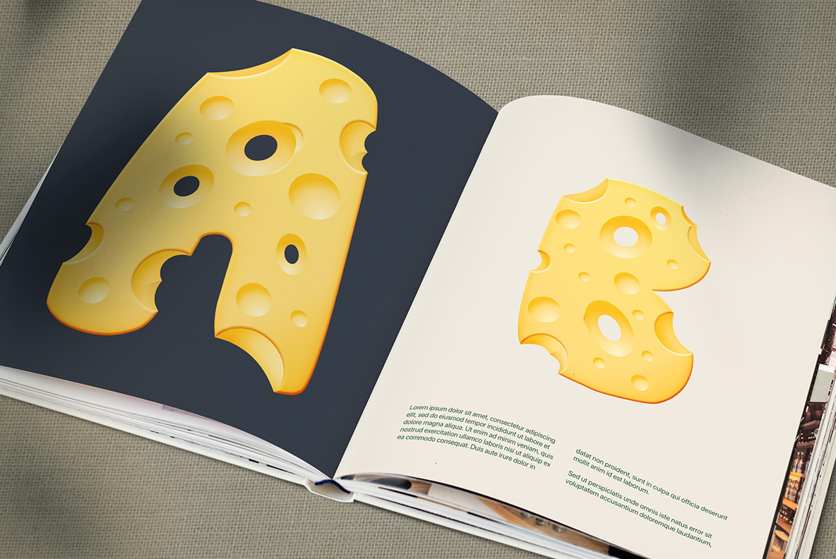 Opened magazine with Moon Cheese Font OpenType Typeface Made By Handmade Font