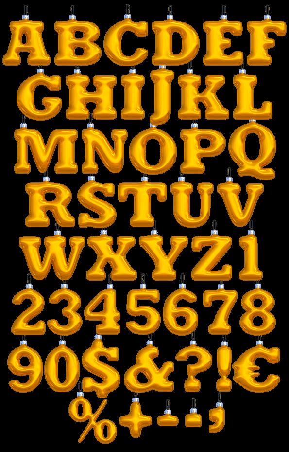 New Year Balls yellow Font