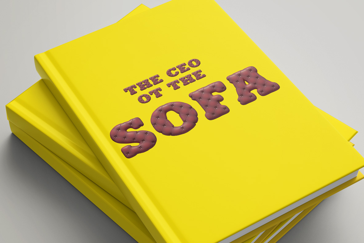 Scotland Yard Font OpenType Typeface SVG. Book cover with sofa handmade font
