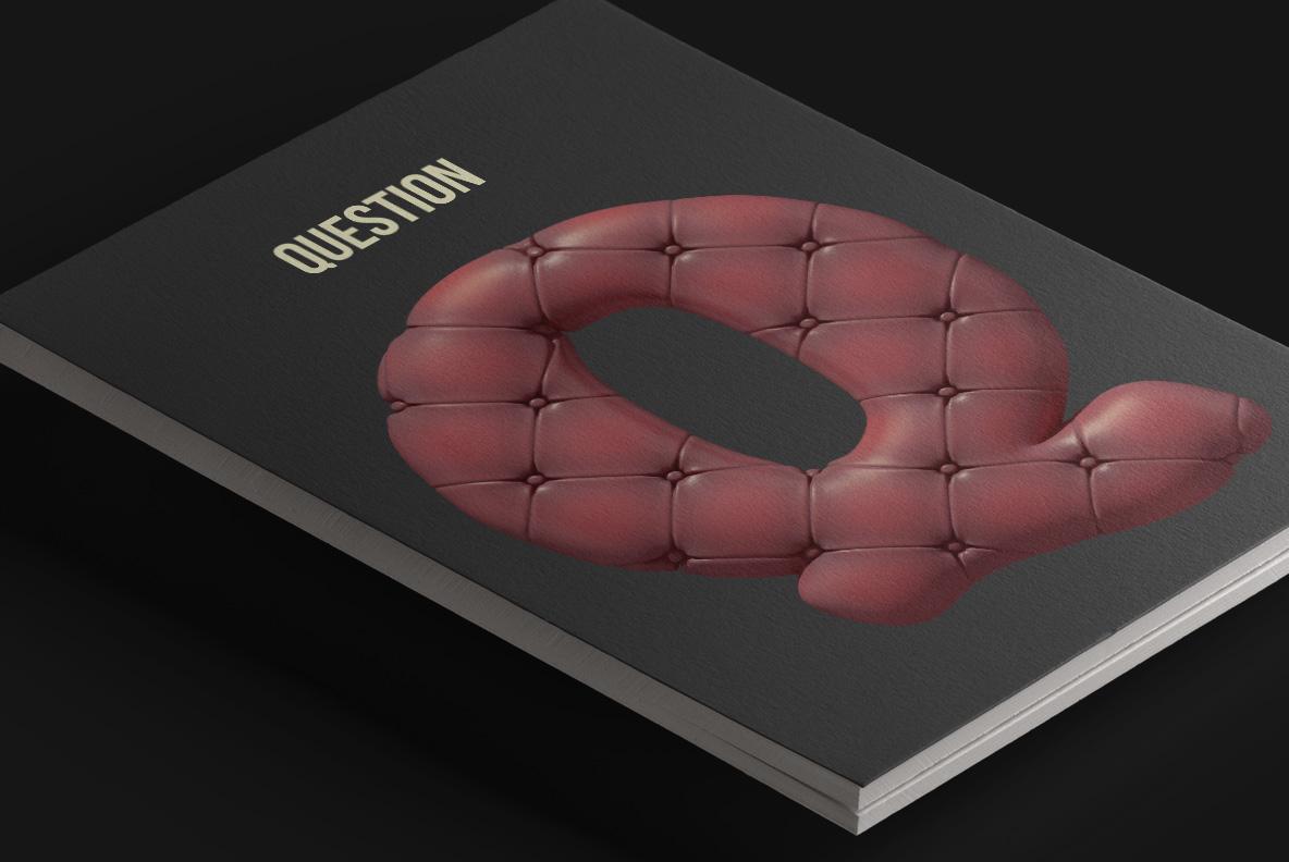 Scotland Yard Font OpenType Typeface SVG. Magazine cover with sofa handmade font