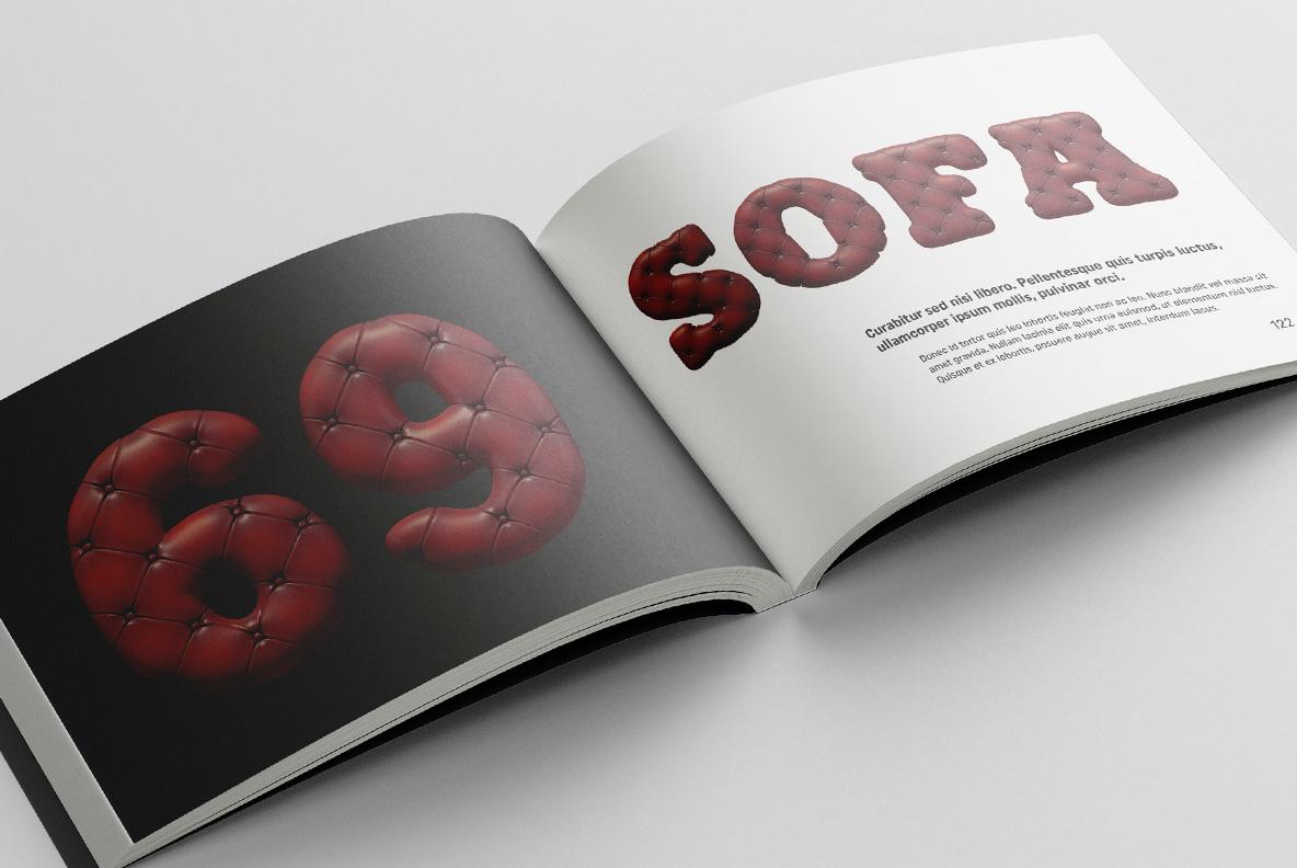 Scotland Yard Font OpenType Typeface SVG. Opened magazine with sofa handmade font