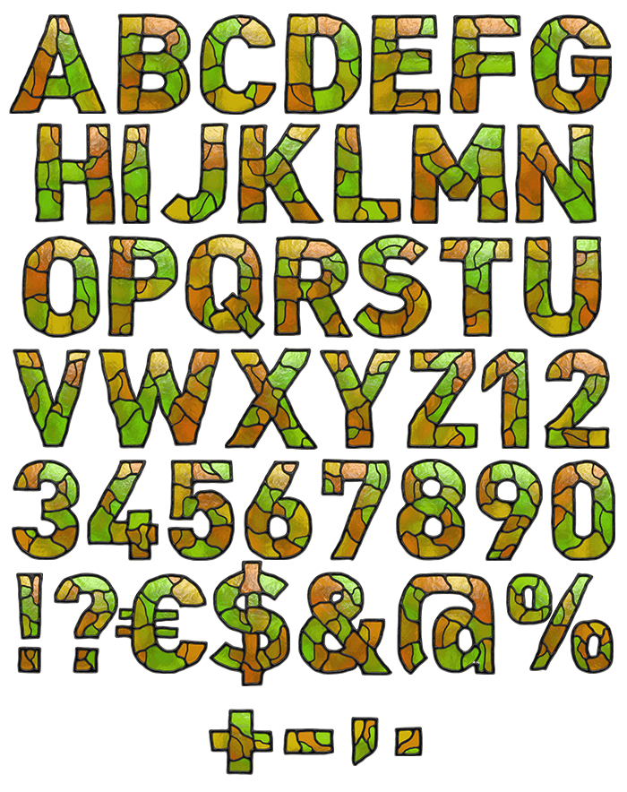 Stained Glass handmade Font