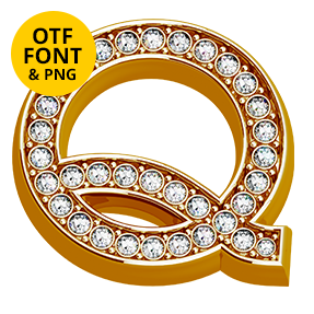Glam Letter Q Of The Shine Font. Opentype Typeface