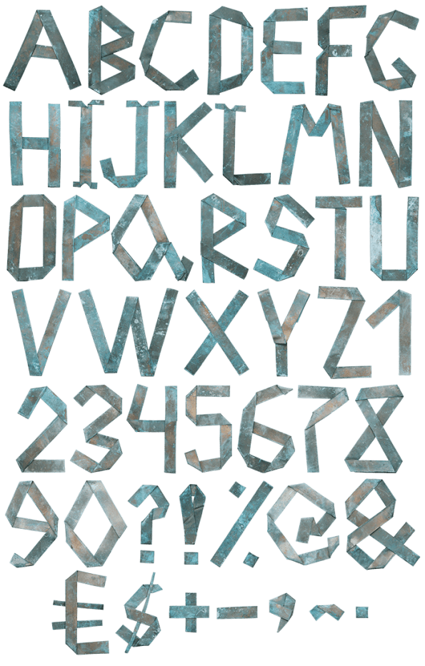 Green Origami Copper handmade Font