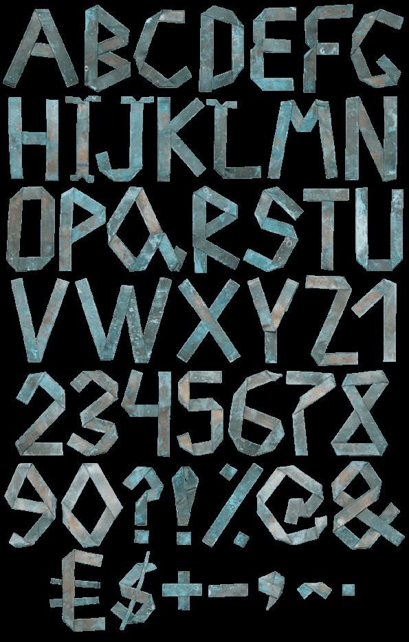 Green Origami Copper handmade Font