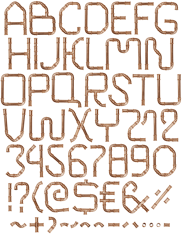 Copper Pipe Font hand