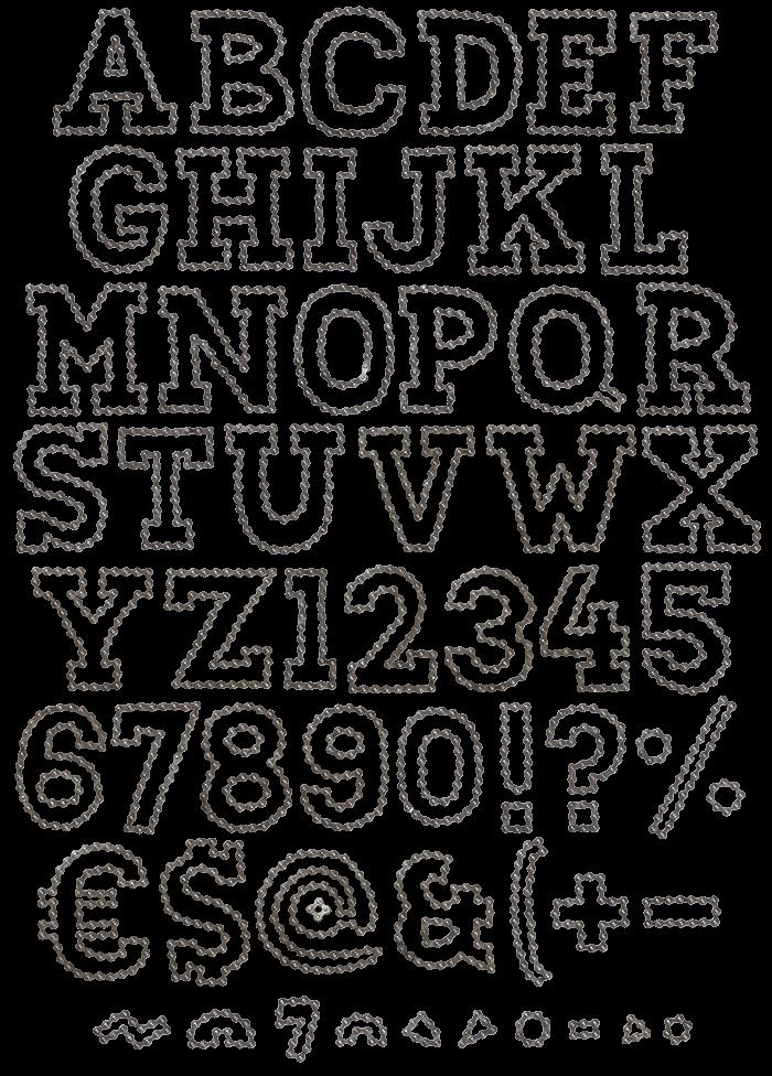 Outline Chain handmade font
