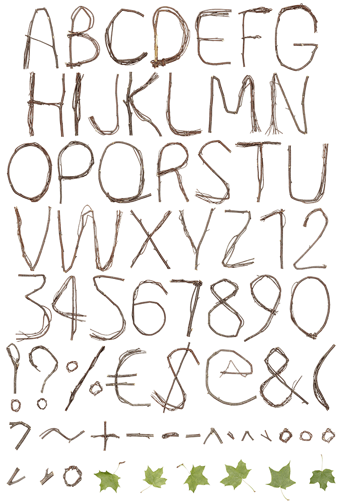 Twigs Brown Font letters