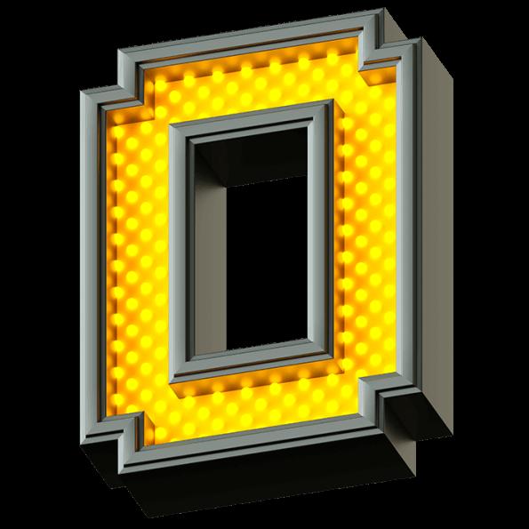 Pixel Yellow LED Font Alphabet
